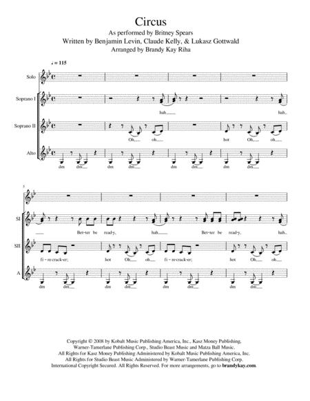 Circus Ssa A Cappella By By Britney Spears Digital Sheet Music For Sheet Music Single Download Print H0 394813 Sc000006285 Sheet Music Plus