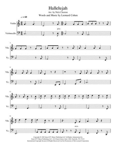 Hallelujah - Violin/Cello Duet (Easy)