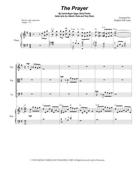 The Prayer (for String Trio and Piano)