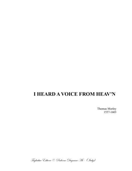 I HEARD A VOICE FROM HEAV'N - Morley - For SATB Choir