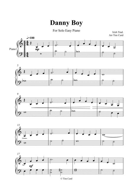 Download Danny Boy For Easy Piano Sheet Music By Traditional