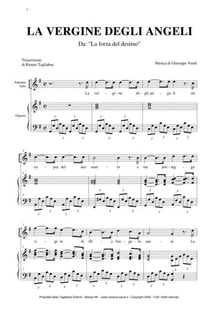 LA VERGINE DEGLI ANGELI - Verdi - For Soprano (or any instrument in C) and Organ