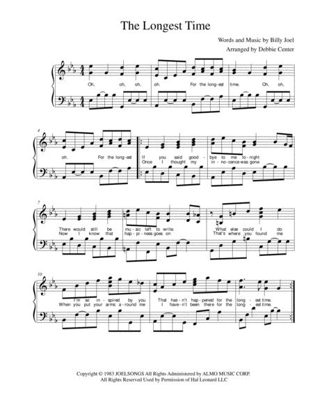 The Longest Time, by Billy Joel, Arranged for Advanced Intermediate Solo Piano, with Lyrics