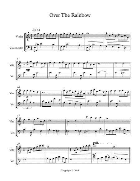 Over the Rainbow Violin and Cello Duet Full Score only