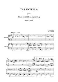 Prokofiev - TARANTELLA from ''Music for Children'' Op.65 - 1 piano 4 hands