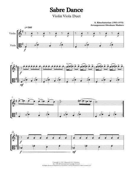 Sabre Dance by Aram Khachatutian Violin Viola Duet