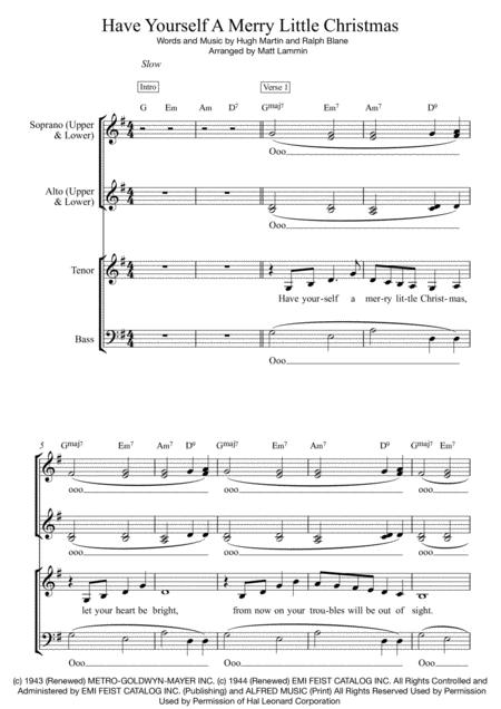 Have Yourself A Merry Little Christmas SATB