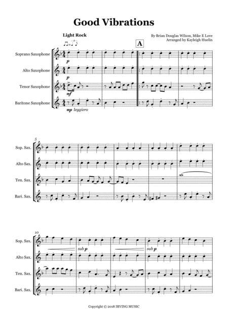 Good Vibrations by the Beach Boys - Saxophone quartet (SATB)