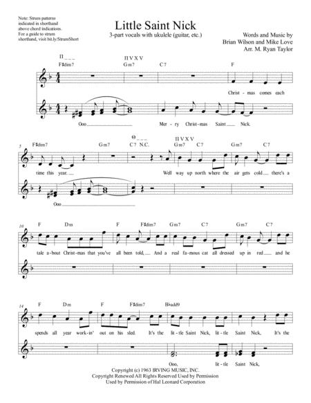 little saint nick from the beach boys christmas album for ssa choir and strumming instrument - Beach Boys Christmas Song