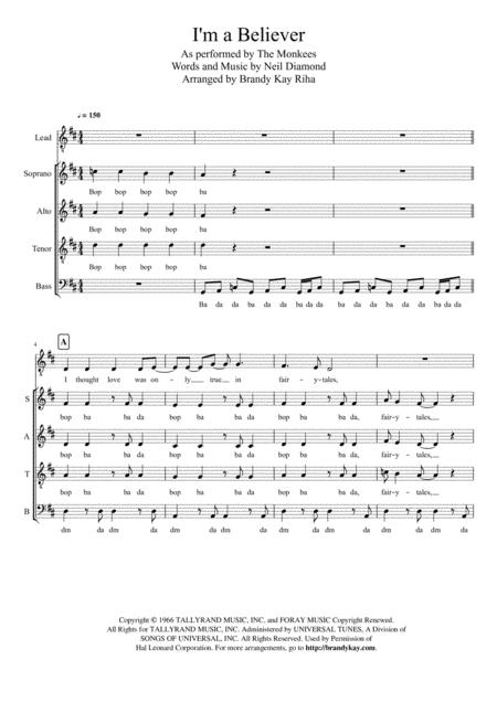 Download I'm A Believer (SATB A Cappella) Sheet Music By The