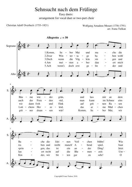 Sehnsucht nach dem Frühlinge, F major, easy duet for equal voices