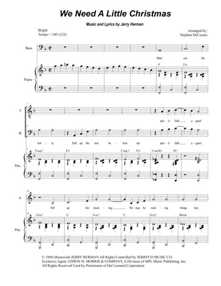 We Need A Little Christmas (for SATB)