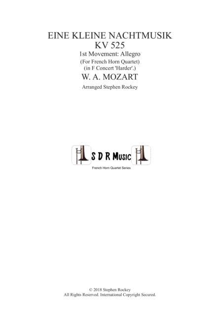 Eine Kleine Nachtmusik 1st Movement Allegro for Horn Quartet in F Concert pitch