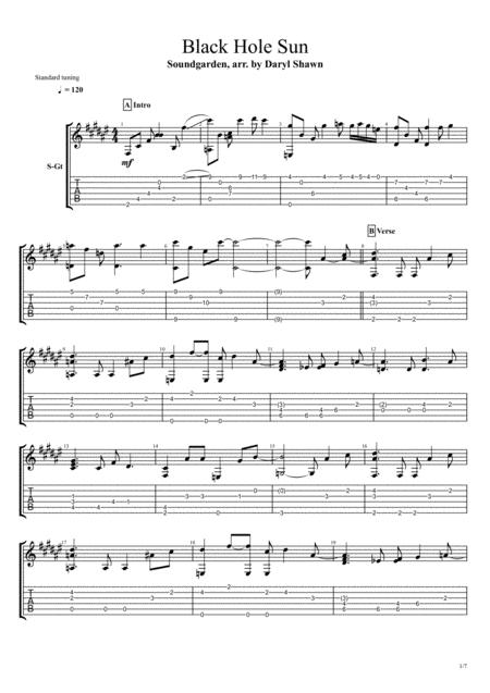 download black hole sun for solo fingerstyle guitar sheet music by chris cornell sheet music plus. Black Bedroom Furniture Sets. Home Design Ideas
