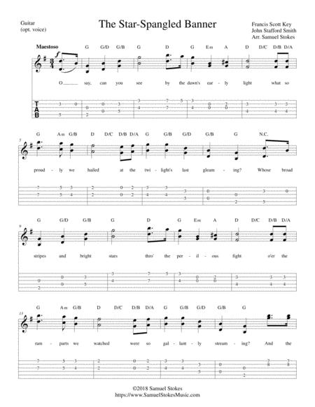 The Star Spangled Banner For Guitar Solo With Tab Optional Voice By Francis Scott Key John Stafford Smith Digital Sheet Music For Voice Guitar Guitar Tab Download Print S0 407225 From Samuelstokesmusic Com Self Published
