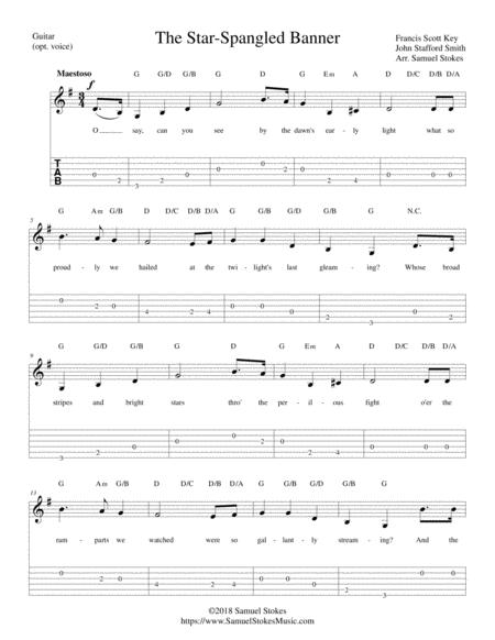 The Star Spangled Banner For Easy Guitar Solo With Tab Optional Voice By Francis Scott Key John Stafford Smith Digital Sheet Music For Voice Guitar Guitar Tab Download Print S0 407263 From Samuelstokesmusic Com