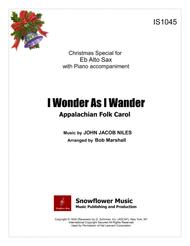 I Wonder As I Wander - Eb Alto Sax Solo