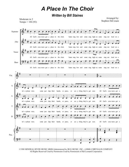 A Place In The Choir (for SATB)