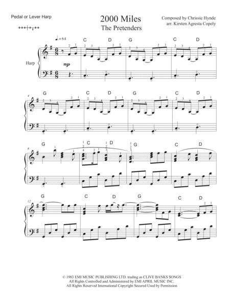 2000 Miles - The Pretenders for Solo Harp