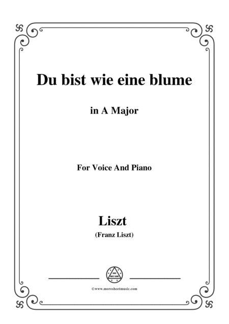 Liszt-Du bist wie eine blume in A Major,for voice and piano