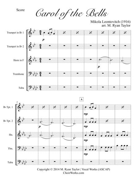 Carol of the Bells for Brass Quintet : Score & Parts