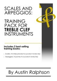 Scales and arpeggios book (pack) for all TREBLE CLEF instruments - simple process to success in every key. Ideal for all grades.
