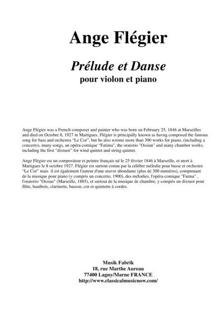 Ange Flégier: Prélude et Danse for violin and piano