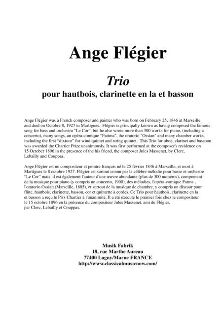 Ange Flégier: Trio for oboe, clarinet (A or Bb) and bassoon