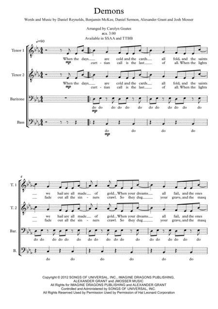 Demons (Imagine Dragons) - TTBB - a capella - choir