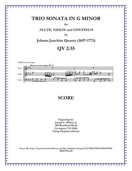 Quantz Trio Sonata in G Minor for Flute, Violin and Continuo QV. 2:35