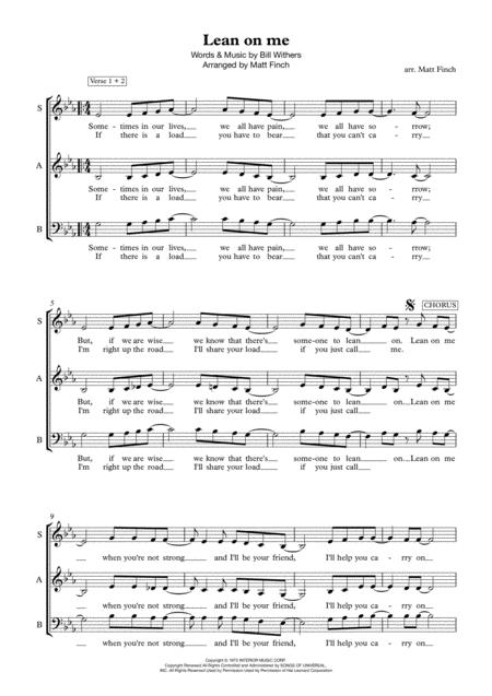 Download Lean On Me - Acapella Sheet Music By Bill Withers