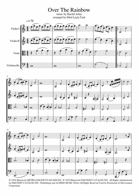 Over The Rainbow (from The Wizard Of Oz) in C Major for String Quartet