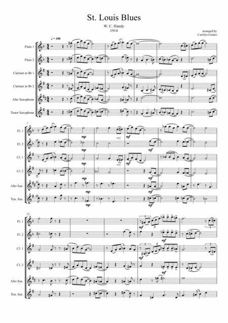 St. Louis Blues (Handy) for Wind Band in 6 parts (Flutes / Clarinets / Saxes)