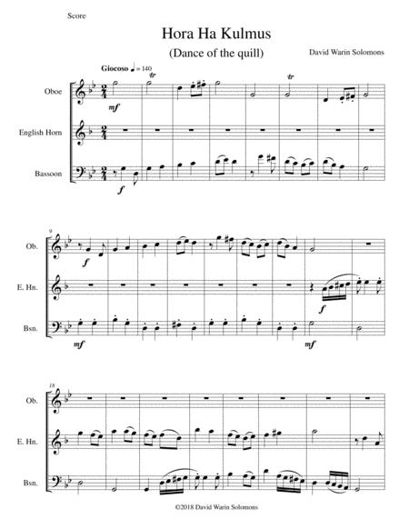Hora Ha Kulmus (Dance of the quill) for double reed trio (oboe, cor anglais, bassoon)