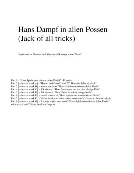 Hans Dampf in allen Possen (Jack of all tricks) for double-reed trio (oboe, cor anglais, bassoon)