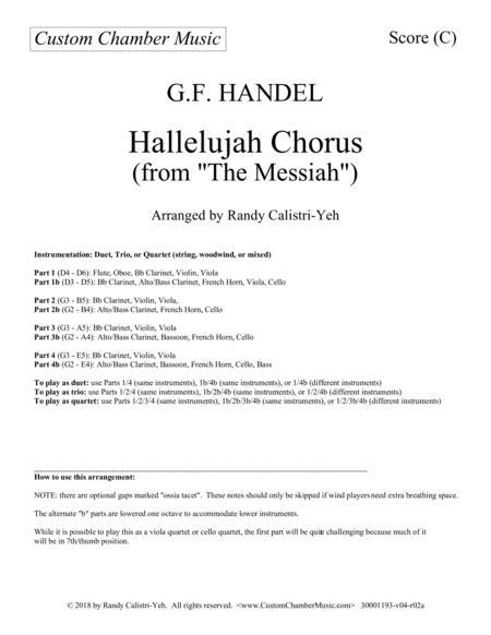 Hallelujah Chorus (Messiah): duet/trio/quartet (string, woodwind, or mixed)