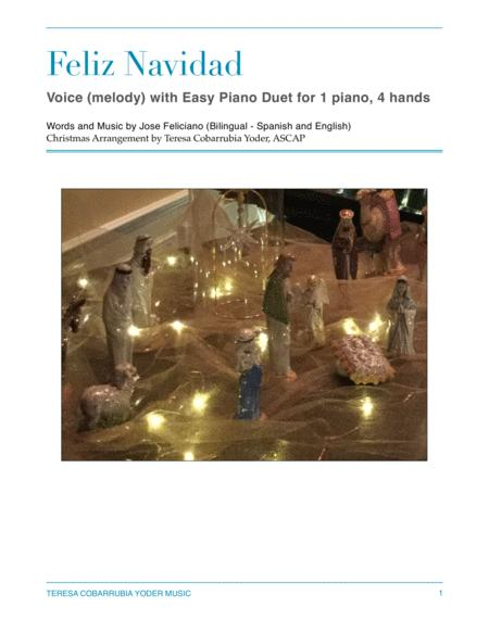 Feliz Navidad - SING AND PLAY SERIES - Unison Voice and Easy Piano Duet for One Piano and Four Hands