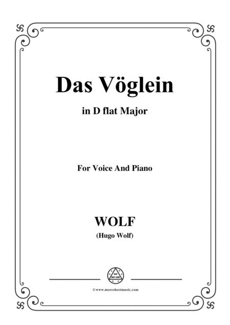Wolf-Das Vöglein in D flat Major,for voice and paino