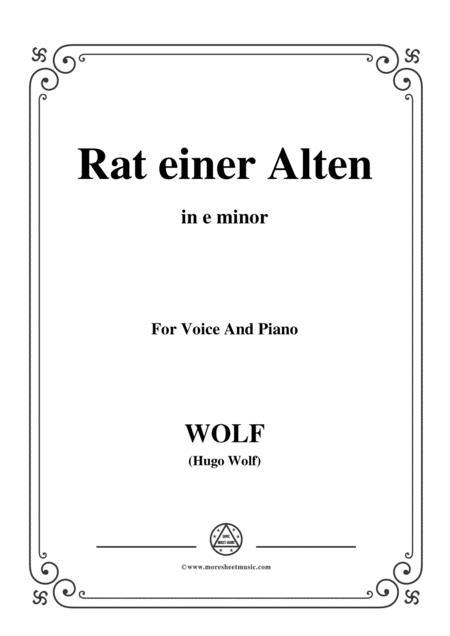 Wolf-Rat einer Alten in e minor,for voice and paino