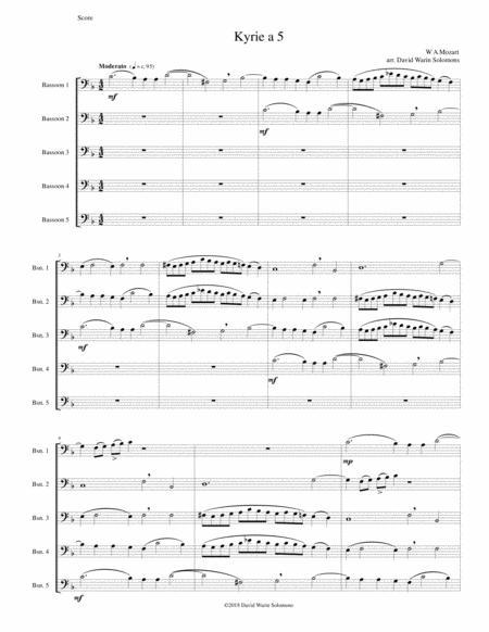Mozart Kyrie canon a 5 arranged for 5 bassoons