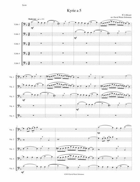 Mozart Kyrie canon a 5 arranged for 5 cellos