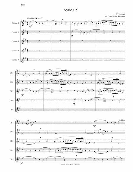 Mozart Kyrie canon a 5 arranged for 5 clarinets