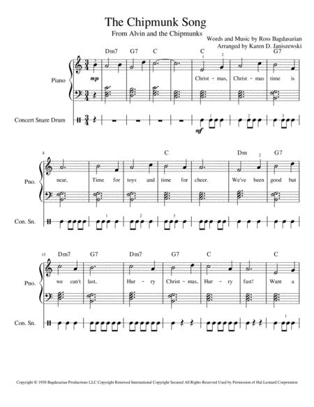 Download The Chipmunk Song (For Easy Snare Drum And Piano