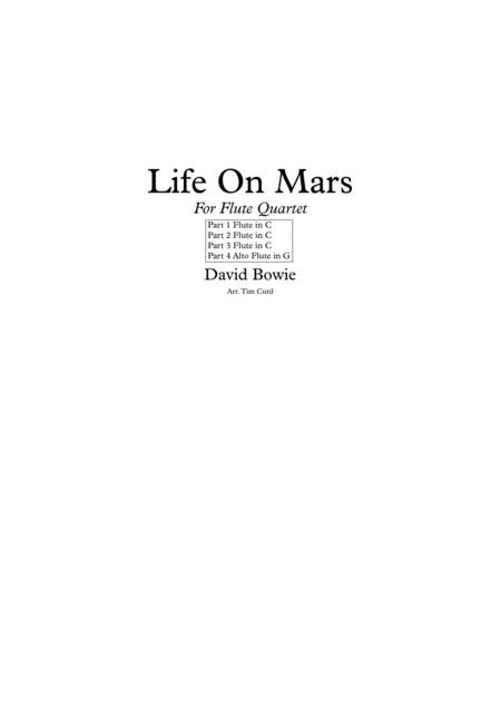 Life On Mars. For Flute Quartet