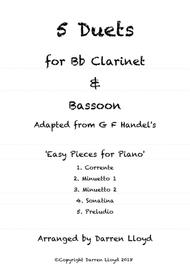 5 duets adapted from Handel's 'Easy Piano Pieces' for Bb Clarinet & Bassoon
