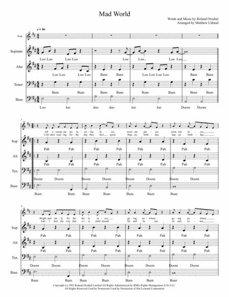 Mad World - A Cappella SATB plus soloist