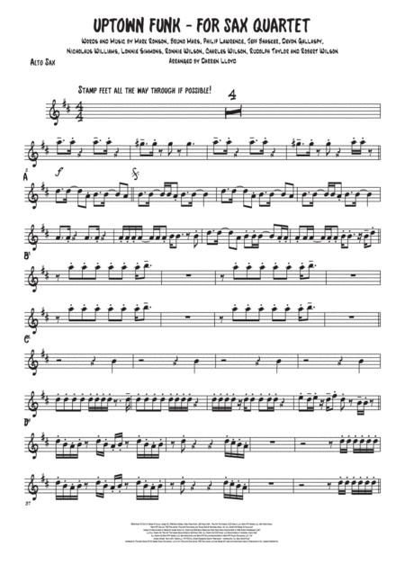 Download Uptown Funk - Saxophone Quartet Sheet Music By Mark