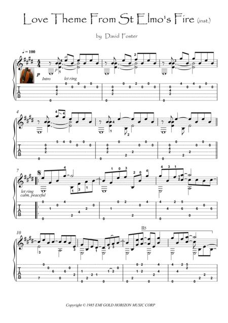 Love Theme From St Elmo's Fire fingerstyle guitar