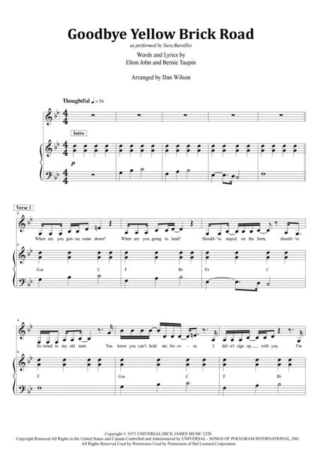 Download Goodbye Yellow Brick Road Sheet Music By Elton John Sheet