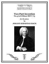 2-Part Invention No. 4 in D minor by J.S. BACH, BWV 775 for Solo Piano